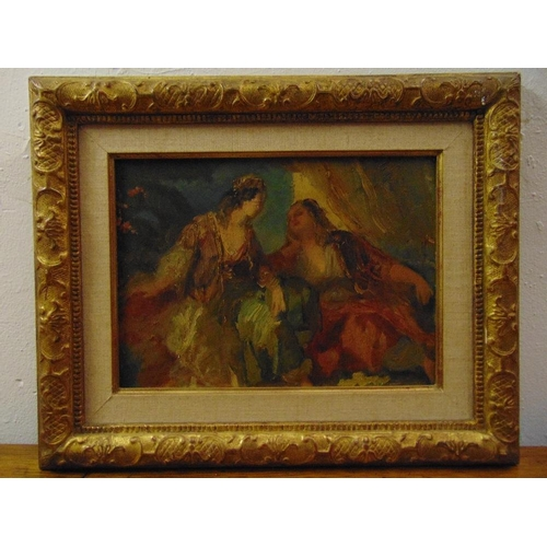 83 - A 19th century framed oil on panel of two ladies deep in conversation, 21.5 x 29cm...