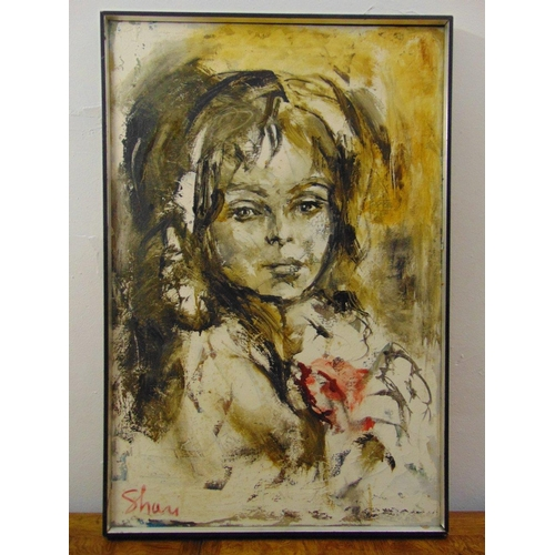 84 - A framed oil on canvas of a female form indistinctly signed bottom left, 91 x 60.5cm...