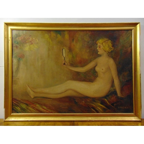 86 - H. Harwick framed oil on panel of a nude lady holding a mirror A/F, 72 x 104cm...