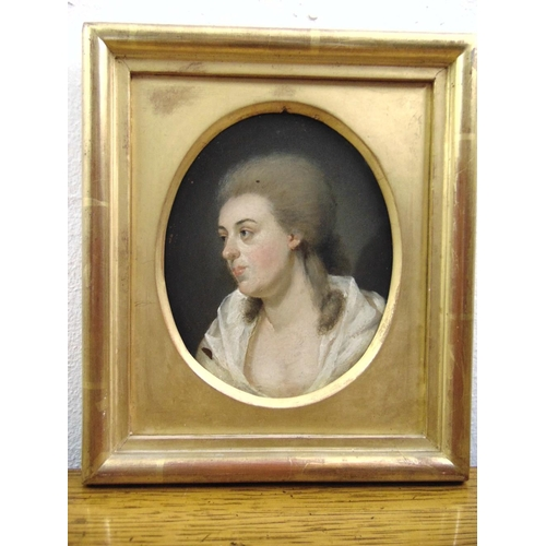 87 - A framed 18th century oil on copper portrait of a lady in a white dress, 13.5 x 11cm...