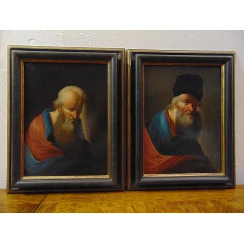 91 - A pair of framed oils on panel of elderly gentlemen in 18th century costume, 24.5 x 18cm each...