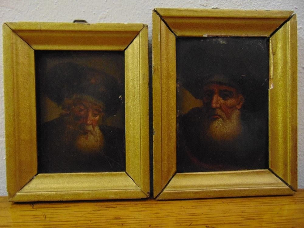 Two framed oils on panel of religious gentleman wearing fur hats, 10