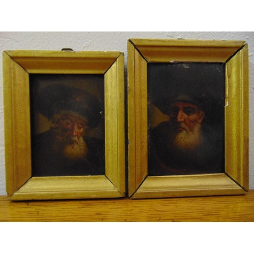 92 - Two framed oils on panel of religious gentleman wearing fur hats, 10 x 7cm each...