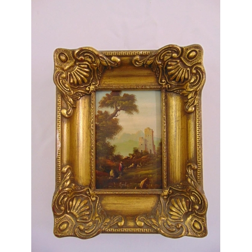 93 - Muriel framed oil on copper of a continental landscape, signed bottom left, 16 x 10.5cm...