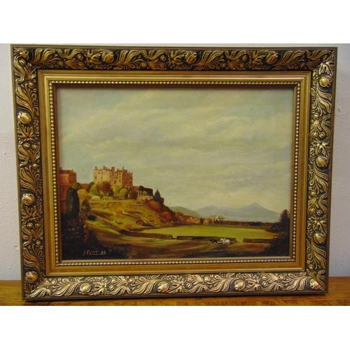 94 - J. Fitt framed oil on panel of a castle on a hill with horses in the foreground, signed bottom left,...