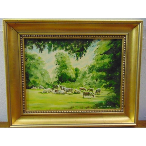 95 - John Constable Reeve framed oil on panel of cows in a field, signed bottom right, 21.5 x 29cm...