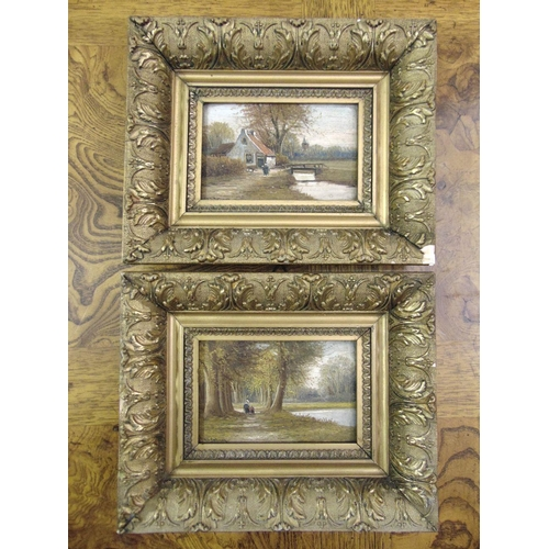96 - Two framed 19th century Dutch school oils on panel of country landscapes, indistinctly signed bottom...