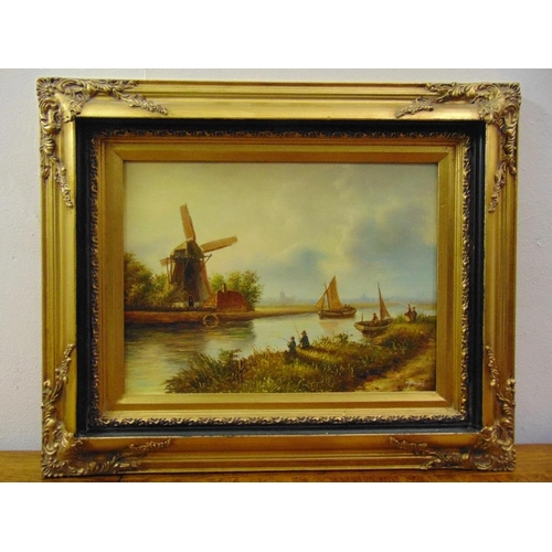 97 - Two framed and glazed oils on canvas in the Dutch style of sailing boats and a canal and windmill, 2...