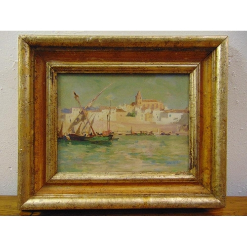 98 - John Stewart McClaren framed oil on board of boats in Palma Majorca harbour signed bottom right and ...