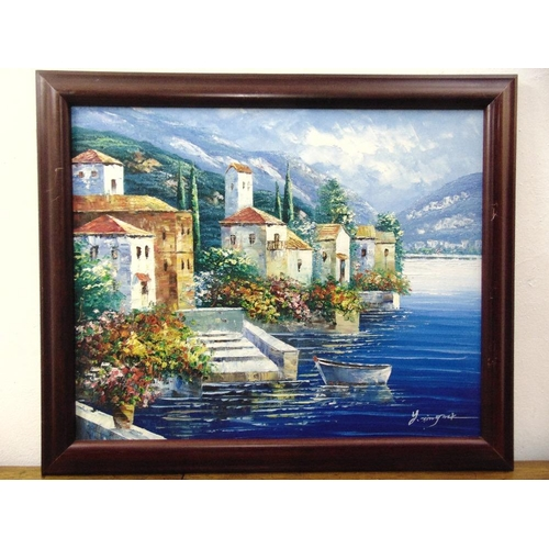 99 - A framed oil on canvas of houses by a lakeside, indistinctly signed bottom right, 48 x 60cm...