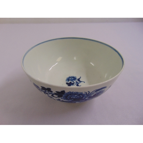 126 - A Worcester first period porcelain blue and white bowl decorated with flowers and leaves, crescent m...