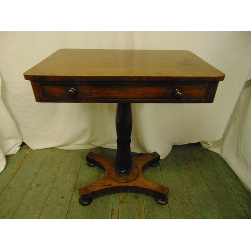 16 - A mahogany rectangular occasional table with single drawer on quatrefoil base...