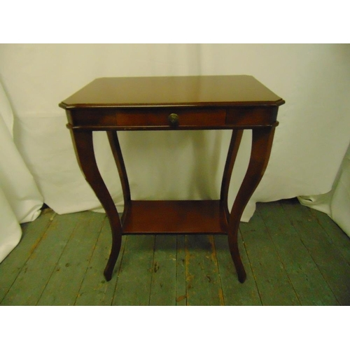 18 - A mahogany rectangular side table on cabriole legs with single drawer on four cabriole legs...