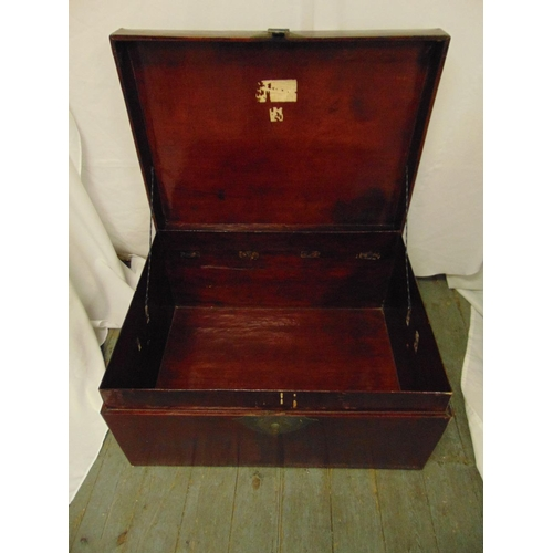 27 - An oriental rectangular hardwood cabinet with brass mounts and lock plate to the single drawer and d...