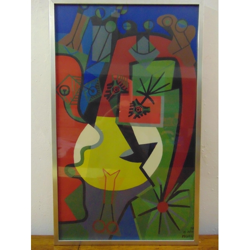 50 - Alfred Pellan 1906-1988 framed and glazed polychromatic abstract gouache on paper, 72 x 43cm...