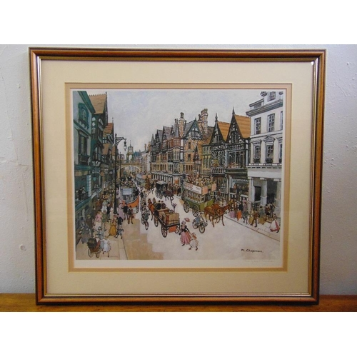 51 - Margaret Chapman polychromatic lithographic print of a Chester street scene, signed bottom right and...