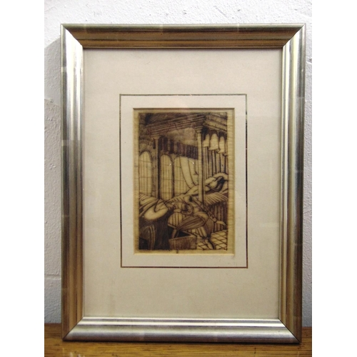 52 - Alexander Hodgkinson framed and glazed lithographic print of figures in a bedroom, 16 x 11cm...