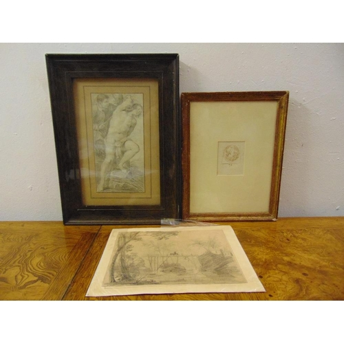 53 - Three old master drawings, two in frames...