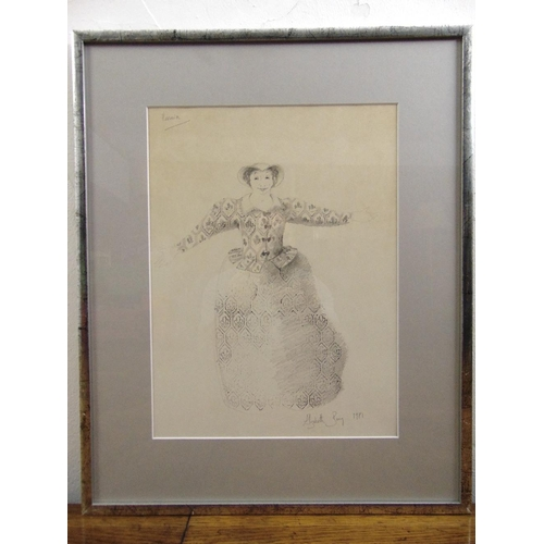 54 - Elizabeth Bury framed and glazed pencil drawing of Hermia from A Midsummer Nights Dream, signed and ...