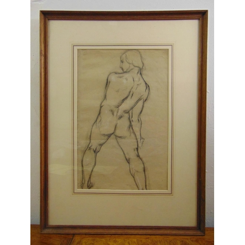 55 - Alfred Elmore R.A. 1815-1881 framed and glazed charcoal study of a male torso, 47.5 x 31cm...