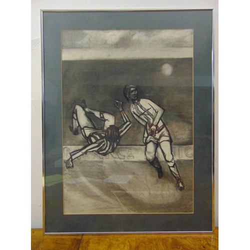 57 - Thomas framed and glazed charcoal image of two footballers circa 1970, signed bottom right, 73 x 51....