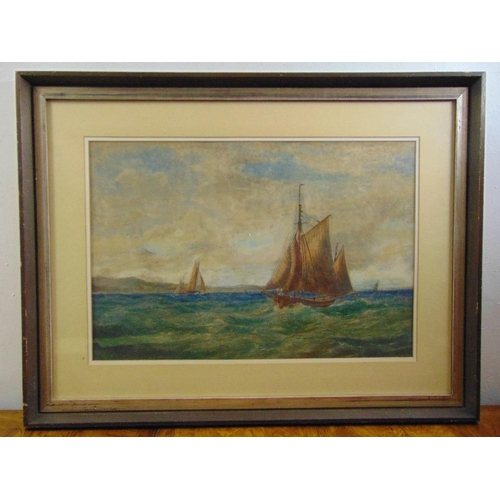 58 - Henry Moore 1831-1895 framed and glazed watercolour of sailing boats, signed bottom right, 43 x 64cm...