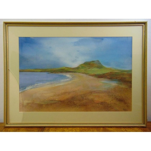 59 - Joan Marlow framed watercolour of a Pembrokeshire beach, signed bottom right, 45.5 x 69cm...