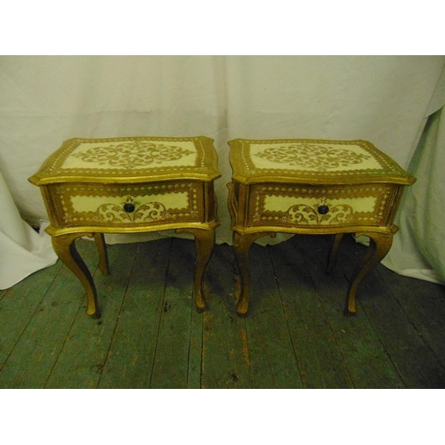 6 - A pair of Florentine bedside tables, single drawer on four cabriole legs...