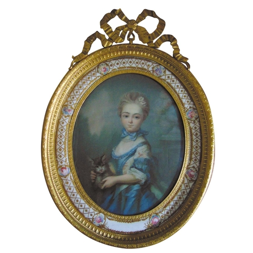 71 - A 19th century framed and glazed watercolour of a young girl with a cat within an enamel and ormolu ...