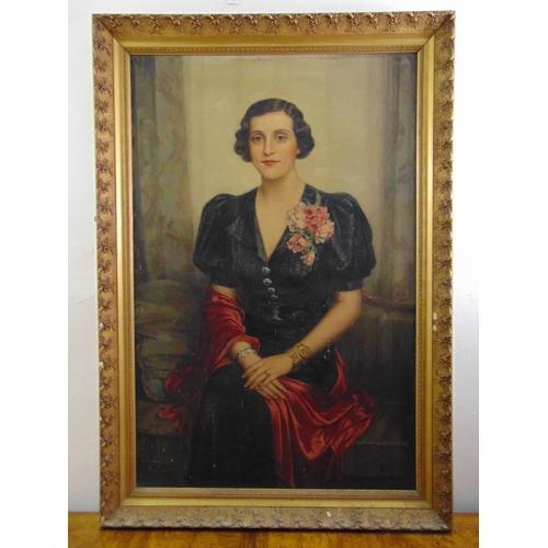 72 - Emil Englerth framed oil on canvas full length portrait of a lady in a black dress, signed bottom le...