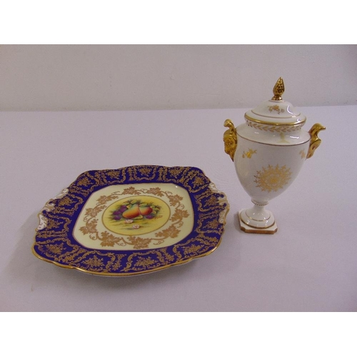112 - A Coalport neo-classical covered vase with gilded side handles and a Paragon cake plate...