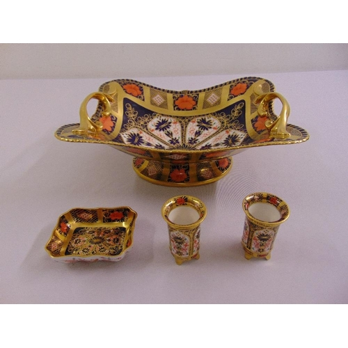 114 - A quantity of Royal Crown Derby Imari pattern to include a rectangular fruit bowl, two toothpick hol...