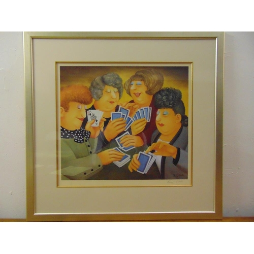 50 - Beryl Cook framed and glazed polychromatic lithographic print titled A Full House, 567/650 to includ...