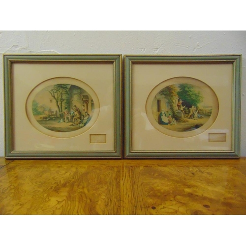 52 - A pair of framed and glazed Victorian polychromatic etchings titled A Soldiers Return and Blowing Bu...