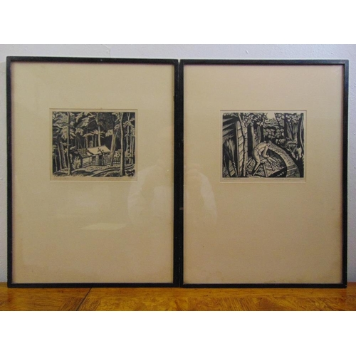 54 - Ethelbert White two framed and glazed monochromatic limited edition woodcuts, signed bottom left, 14...