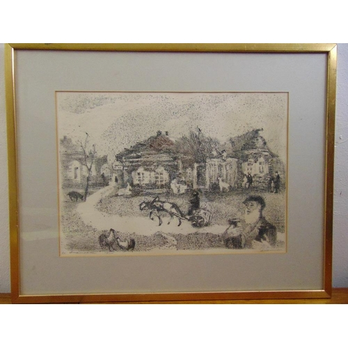 55 - Anatolij Lvovic Kaplan 1902-1980 three framed and glazed monochromatic limited edition lithographs o...