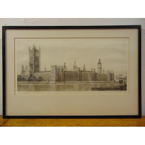 57 - Marcel Schuette framed and glazed etching of The Houses of Parliament dated and signed bottom right ...