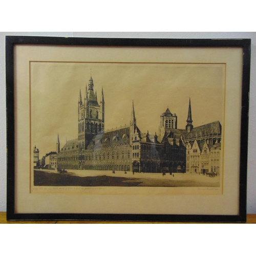 58 - Marcel Schuette framed and glazed limited edition etching of The Famous Clock Tower of Ypres before ...