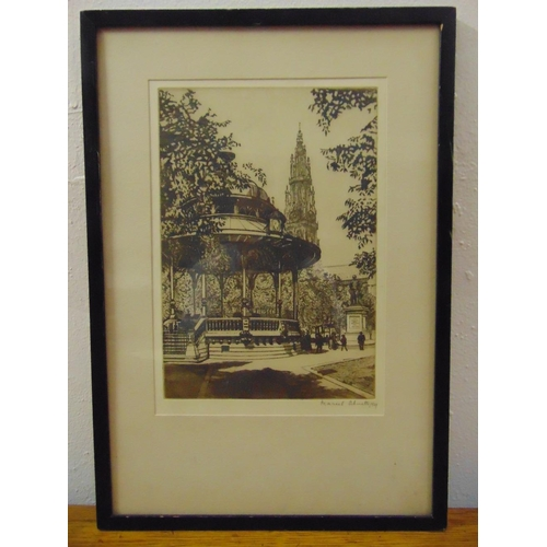 59 - Marcel Schuette two framed and glazed etchings of The Guildhall London and a Band Stand, 19 x 11.5cm...