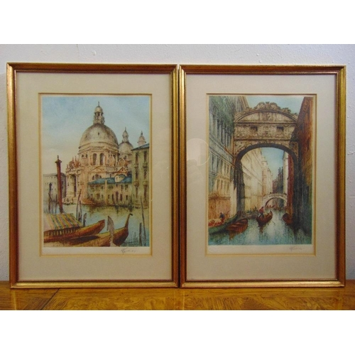 60 - R. H. Smallridge a pair of framed and glazed polychromatic etchings of Venice, signed bottom right, ...