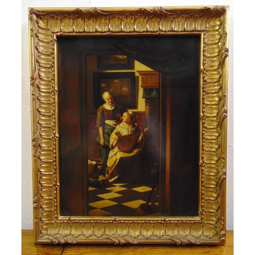 81 - A framed oil on panel of domestic figures in an interior scene in the style of Vermeer, 33.5 x 26.5c...
