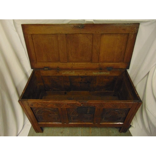 17 - A rectangular oak chest panelled sides, hinged cover on four bracket feet...