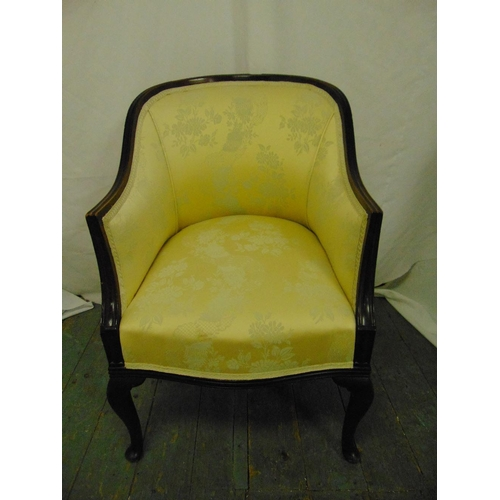 33 - An early 20th century upholstered tub chair on scroll legs...