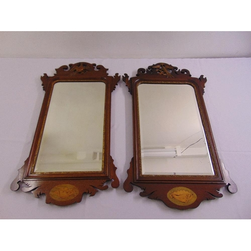 39 - A pair of Edwardian rectangular wooden framed mirrors in late 18th century style...