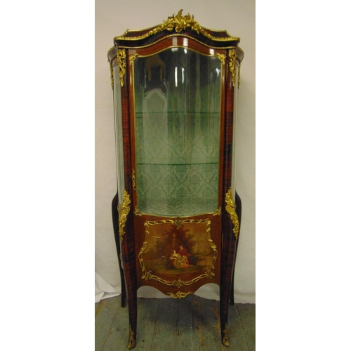 5 - A Vernis Martin shaped rectangular glazed display cabinet with bow glass sides and hinged fronts, gi...