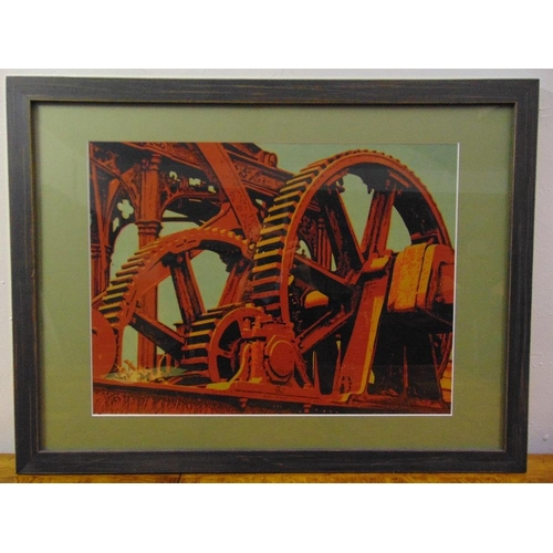 53 - A framed and glazed polychromatic reduction print of Sugar Gears, signed John McCaskill bottom right...