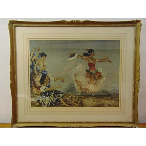 54 - William Russell Flint framed and glazed lithograph of a flamenco dancer signed bottom right, 48 x 63...