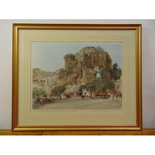 58 - William Russell Flint framed and glazed polychromatic lithographic print of a castle, 48 x 63cm...