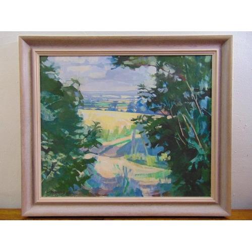 82 - Laurence Gowing framed oil on canvas titled Lanes Above Tilton, signed bottom left, Royal Academy Su...