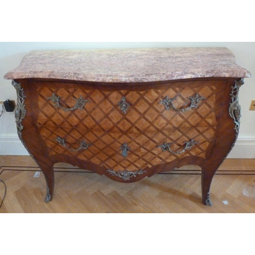 10 - A French Louis XVI style Kingswood chest of drawers with detachable marble top with gilded metal mou...